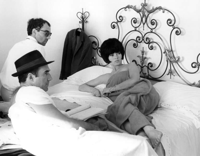 """Sur le tournage du """"Mépris"""", le second grand succès de Godard, avec Brigitte Bardot et Michel Piccoli (1963)"""