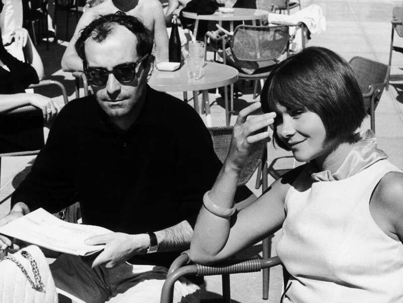 """Jean-Luc Godard et Macha Méril présentent """"Une femme mariée"""" à Venise en 1964."""