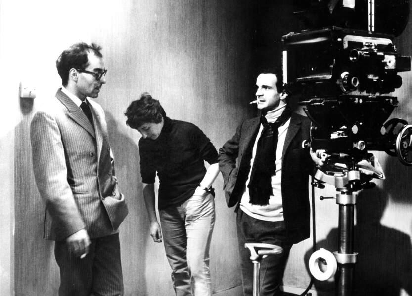 """Jean-Luc Godard avec François Truffaut, son ancien collègue des """"Cahiers du cinéma"""" devenu comme lui réalisateur. Ici sur le tournage de """"Fahrenheit 451"""" (de Truffaut) en 1966."""