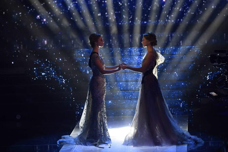 Après des mois de répétitions et d'espoir le destin de l'une de ces deux jeunes femmes (Miss Provence à gauche, Miss Normandie à droite) s'apprête à changer !