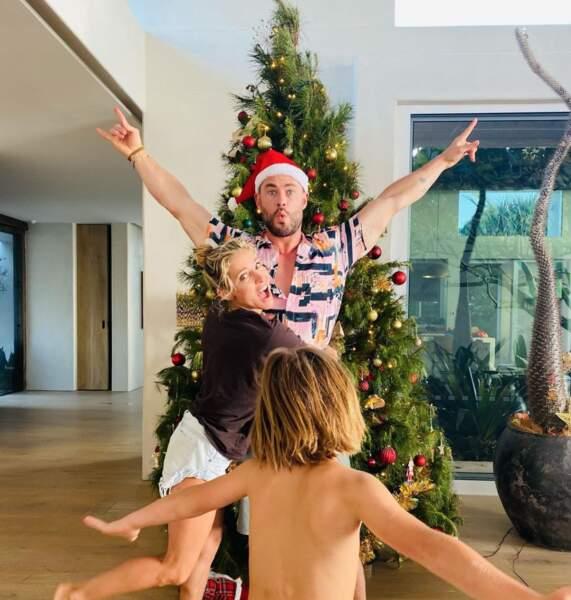Chris Hemsworth avec Elsa Pataky et un de leurs trois enfants