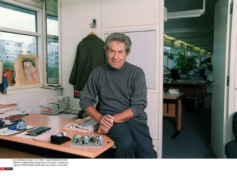Philippe Gildas dans son bureau à Canal +