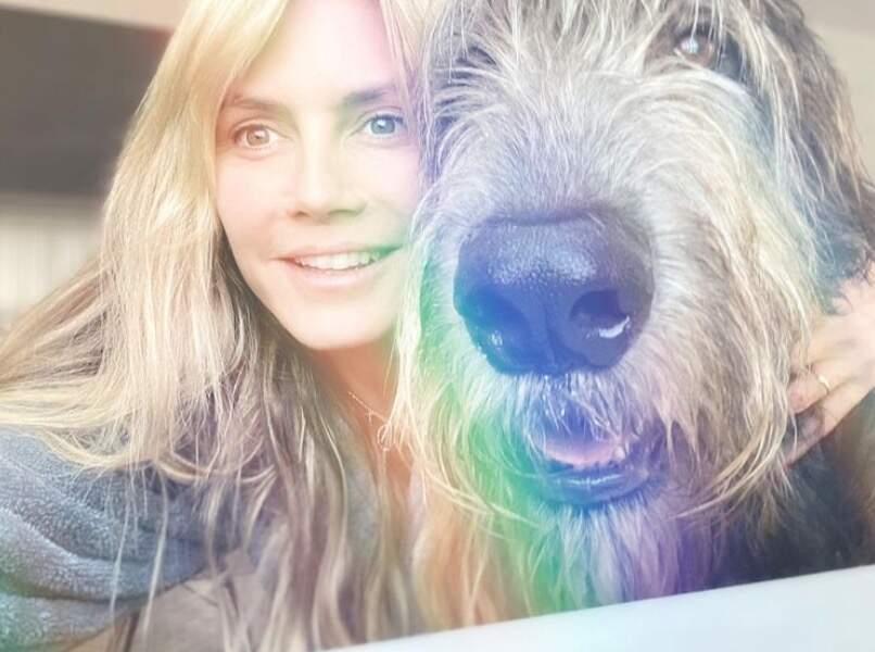 Selfie canin pour Heidi Klum et Anton.