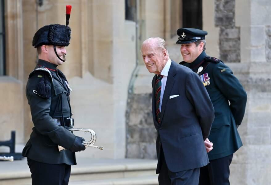 À 99 ans, à l'occasion d'une cérémonie militaire au château de Windsor le 22 juillet dernier, Philip n'avait visiblement pas perdu son sens de l'humour.