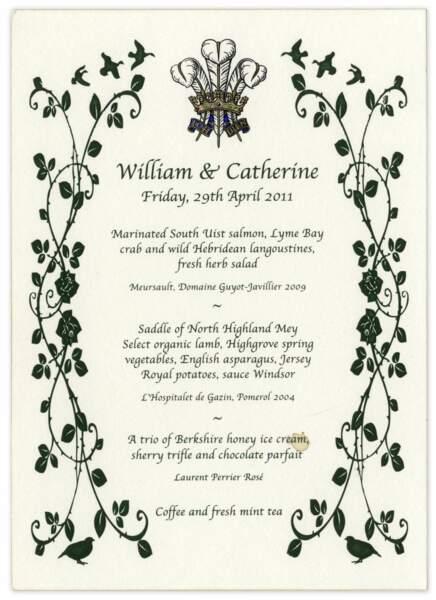 Au menu de ce dîner de mariage royal : saumon, crabe, langoustines, selle d'agneau et vins français !