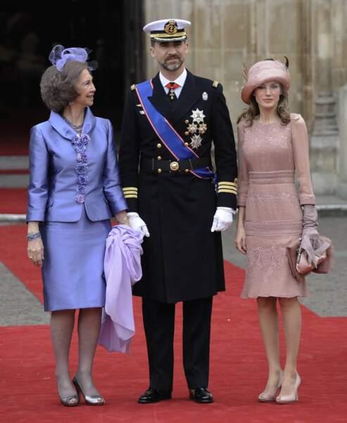 La cour d'Espagne est aussi bien représentée avec la reine Sofia, le prince Felipe et son épouse la princesse Letizia