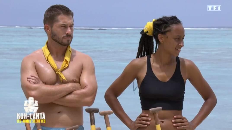 Aurélien et Shanice lors de l'épreuve des radeaux...
