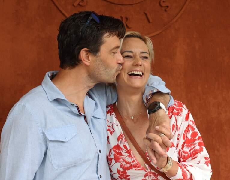 Élodie Gossuin et son mari Bertrand Lacherie sont venus assister à la finale dames à Roland-Garros, samedi 12 juin