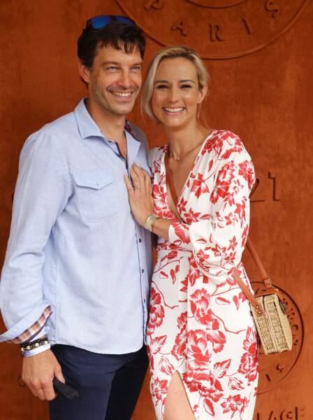 Élodie Gossuin et son mari Bertrand Lacherie à Roland-Garros, samedi 12 juin