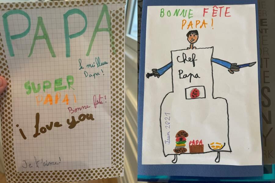 La carte et le dessin que Bianca et Lino, les enfants de Cyril Hanouna, ont fait pour leur père.