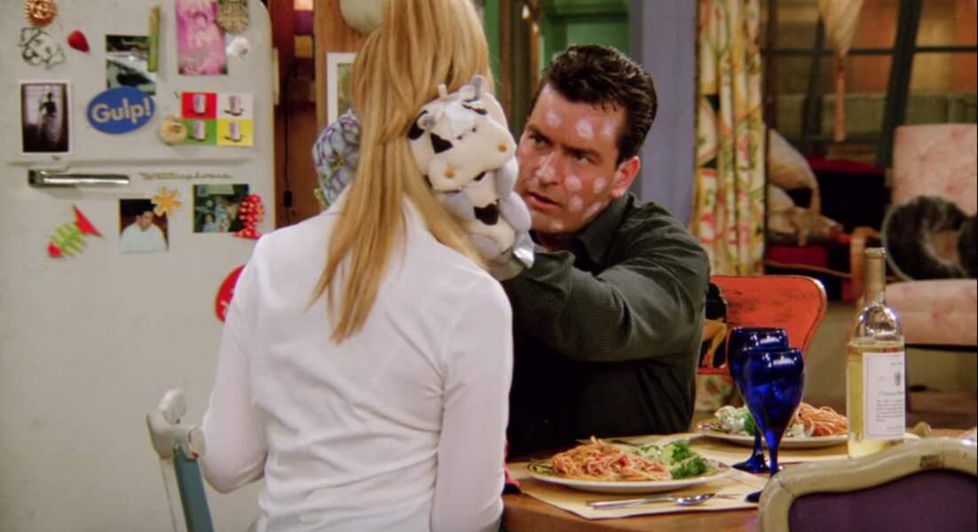Ryan, le personnage de Charlie Sheen, avait beau avoir la varicelle, cela ne l'a pas empêché d'embrasser Phoebe