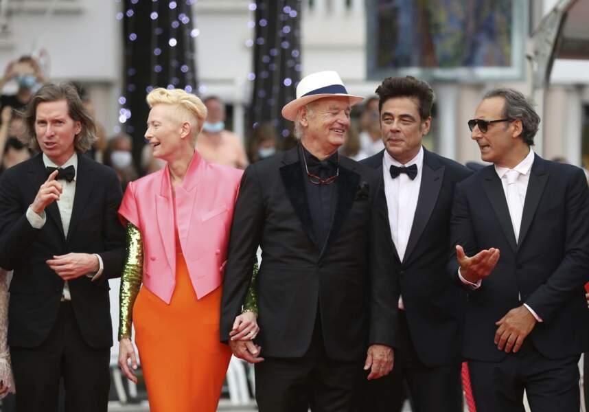 Le réalisateur Wes Anderson, les acteurs Tilda Swinton, Bill Murray, Benicio Del Toro et le compositeur Alexandre Desplat