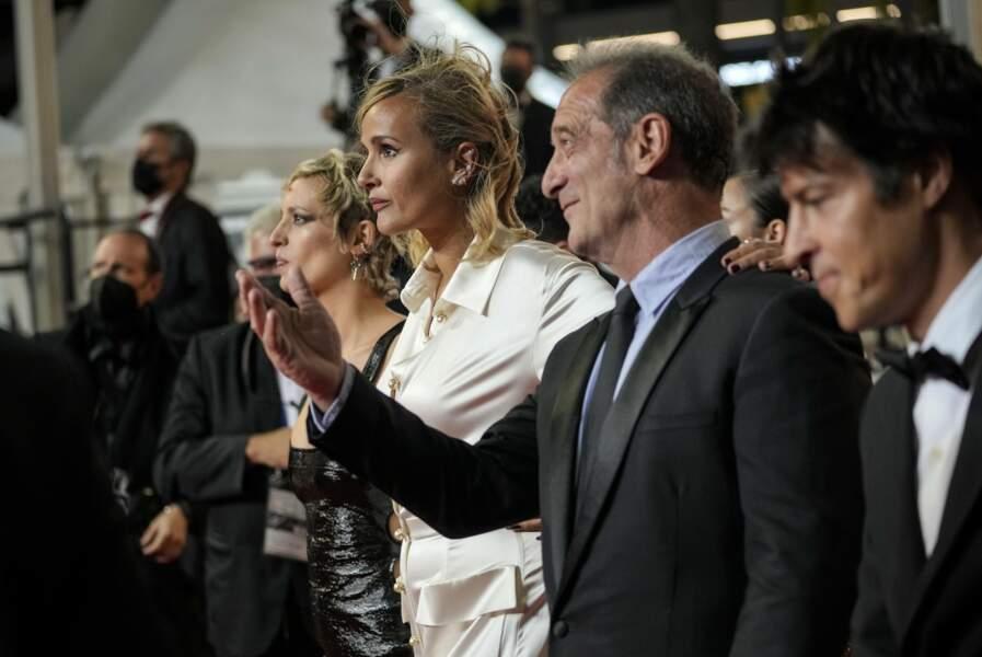 Le producteur Jean-Christophe Reymond, Vincent Lindon, la réalisatrice Julia Ducournau, et Agathe Rousselle