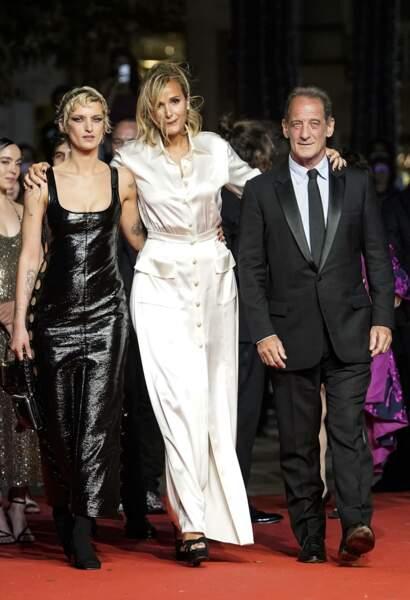 Vincent Lindon, Agathe Rousselle et la réalisatrice Julia Ducournau