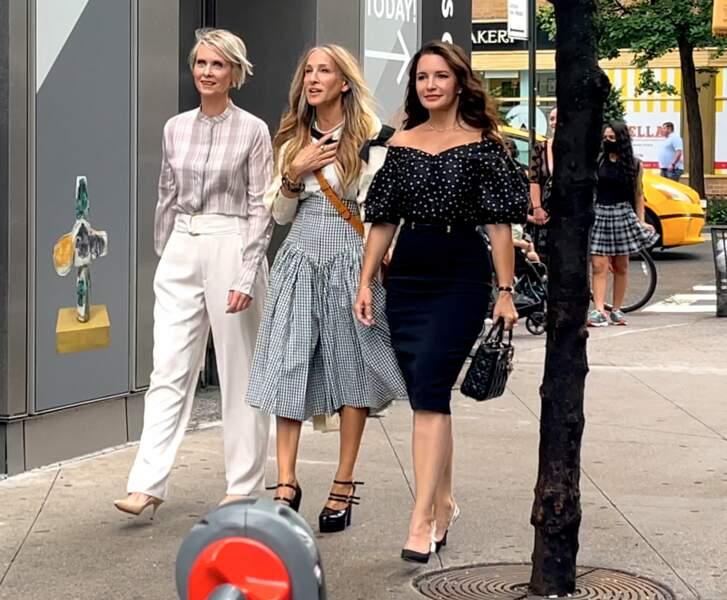 Sarah Jessica Parker, Kristin Davis et Cynthia Nixon sur le tournage de Sex And The City version 2021