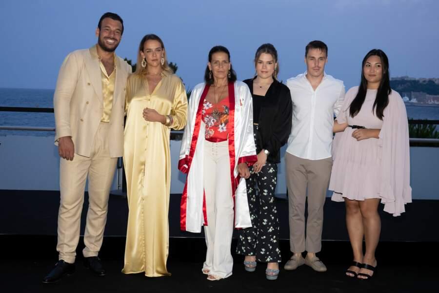 Maxime Giaccardi, Pauline Ducruet, la princesse Stéphanie de Monaco, Camille Gottlieb, Louis Ducruet et Marie Chevallier ont assisté au gala Fight Aids Monaco 2021, samedi 24 juillet, à Monte-Carlo.