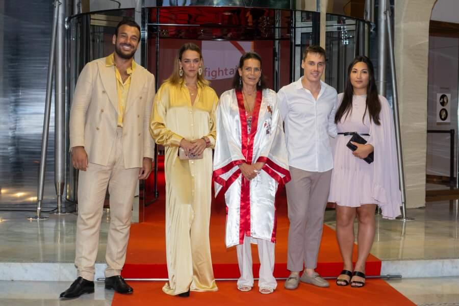 Maxime Giaccardi, Pauline Ducruet, la princesse Stéphanie de Monaco, Louis Ducruet et Marie Chevallier ont assisté au gala Fight Aids Monaco 2021, samedi 24 juillet, à Monte-Carlo.