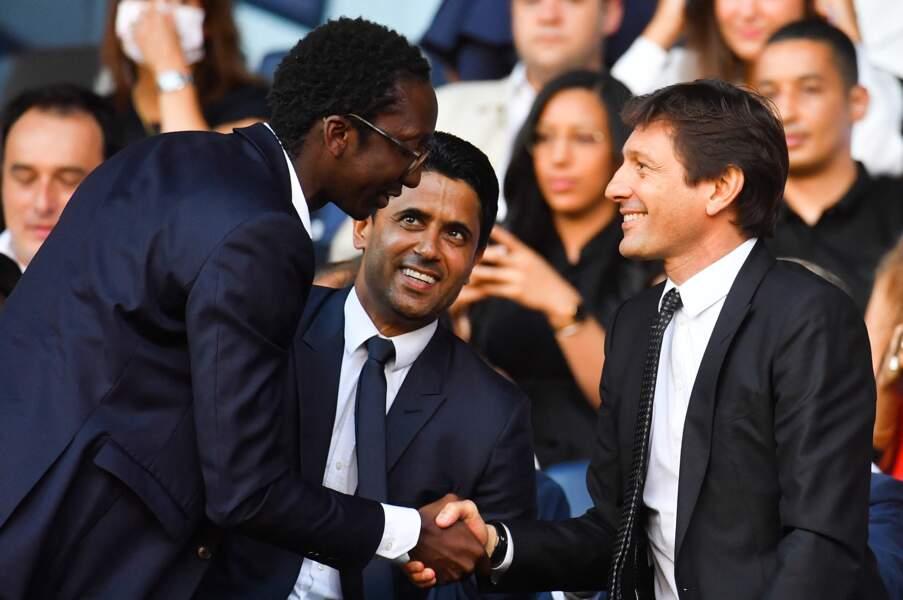 Le président du PSG Nasser Al-Khelaifi et le directeur sportif Leonardo assistent à la présentation des nouveaux joueurs parmi lesquels Lionel Messi