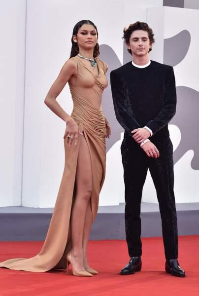 Les deux stars de Dune, Zendaya et Timothée Chalamet, avant la projection du film à la Mostra de Venise