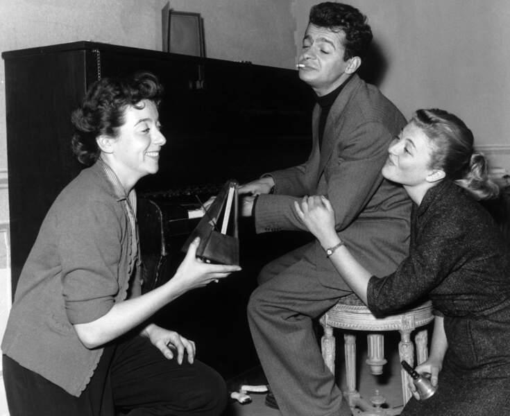 "Marthe Mercadier, Serge Reggiani et Nicole Courcel dans ""Trésor"", en  1951"