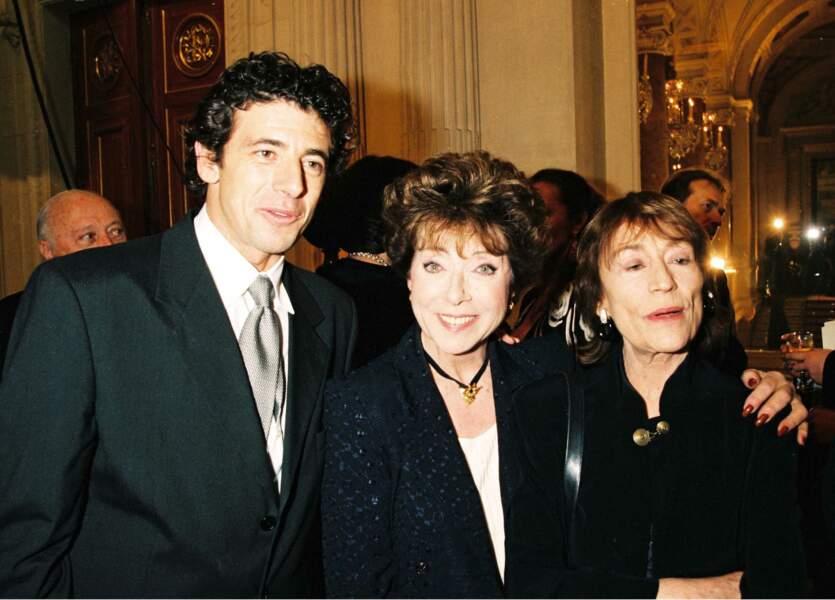 """Aux côtés de Patrick Bruel et Annie Girardot à la soiree """"Diner de stars"""", 1998."""