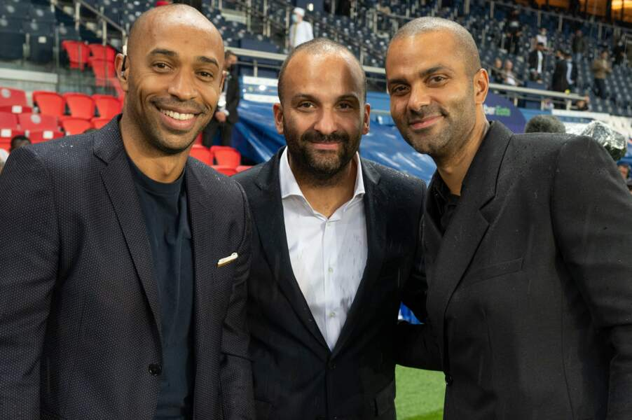 Thierry Henry et Tony Parker soulagés de la victoire de leur équipe parisienne