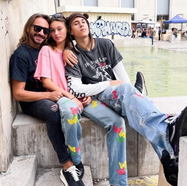 Bob Sinclar et ses enfants Paloma et Raphaël.
