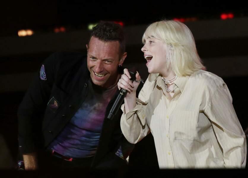 Billie Eilish et Chris Martin, à New York.