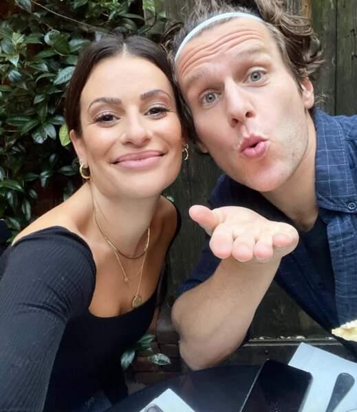 Deux ex-stars de Glee réunies : Lea Michele et Jonathan Groff.