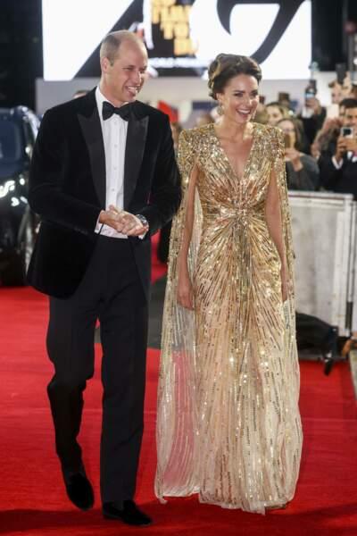 Le prince William et Kate Middleton ont fait le déplacement au Royal Albert Hall de Londres pour l'avant-première du nouveau James Bond : Mourir peut attendre
