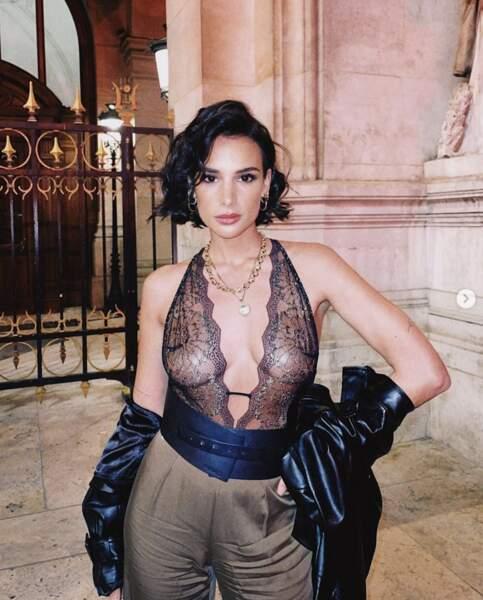Invitée du défilé elle aussi, Jade Leboeuf avait tout misé sur un body en dentelles.
