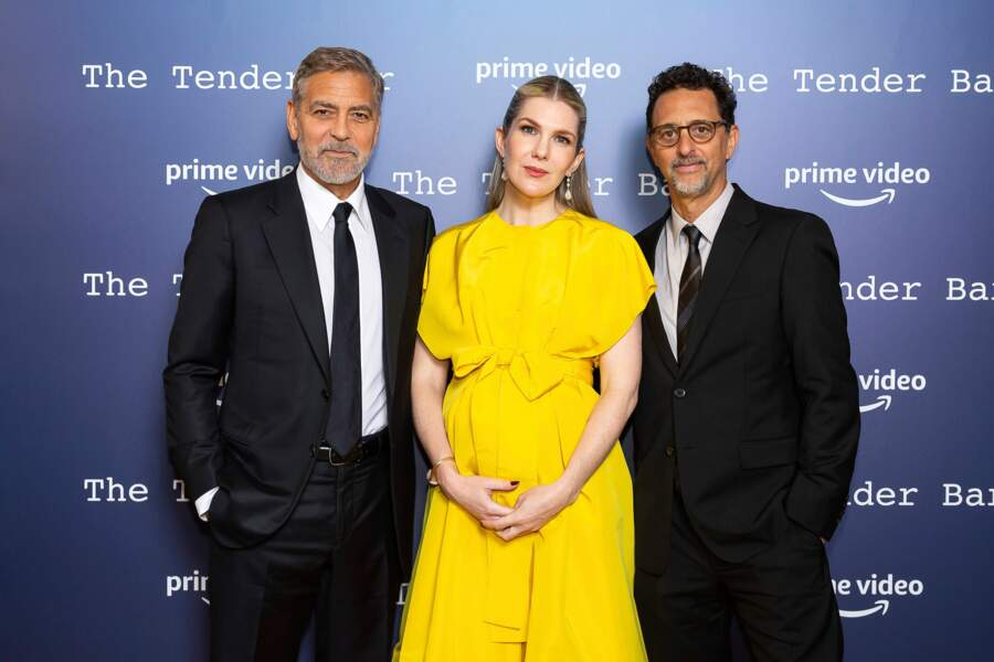 George Clooney, son actrice Lily Rabe le producteur Grant Heslov